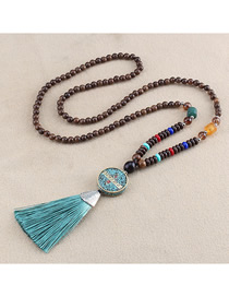 Fashion Blue Tassel Six Word Mantra Beads Sweater Chain