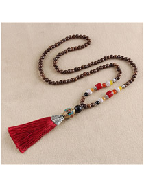 Fashion Red Tassel To Gold Bucket Buddha Beads Sweater Chain