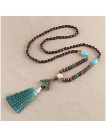 Fashion Blue Tassel Triangle Beaded Sweater Chain