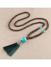 Fashion Green Tassel Turquoise Bead Sweater Chain