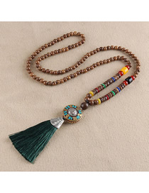 Fashion Golden Tassel Six Word Mantra Beads Sweater Chain