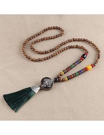 Fashion Green Tassel Elephant Bead Sweater Chain
