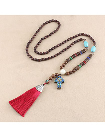 Fashion Red Tassel Cross Turquoise Bead Sweater Chain