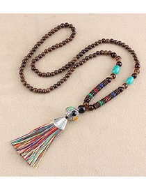 Fashion Color Tassel Oval Ghost Head Bead Sweater Chain