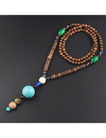 Fashion Turquoise Turquoise Wooden Beads Long Sweater Chain
