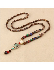 Fashion Beige Oval Small Buddha Head Wooden Beads Long Sweater Chain