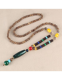 Fashion Green Plastic Cylindrical Wooden Beads Long Necklace