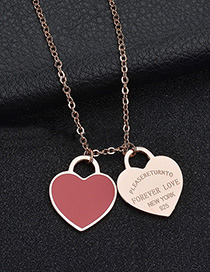 Fashion Red Heart-rose Gold Stainless Steel Double Heart Enamel Letter Necklace