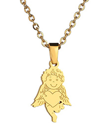 Fashion Golden Three-dimensional Love Cupid Little Angel Stainless Steel Necklace