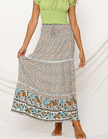 Fashion Blue Elastic Waist Cutout Floral Print Skirt
