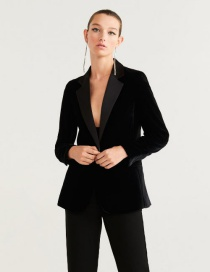 Fashion Black Velvet Blazer