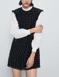 Fashion Black Tweed Panel Frayed Straight Dress