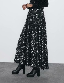 Fashion Black Sequin-embellished Elastic Waist Skirt