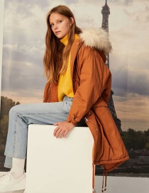 Fashion Ginger Belted Hooded Fur Collar Mid-length Parka Frock Jacket