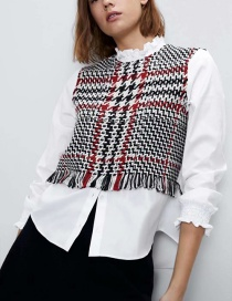 Fashion Red Plaid Panel Frayed Long Sleeve Shirt