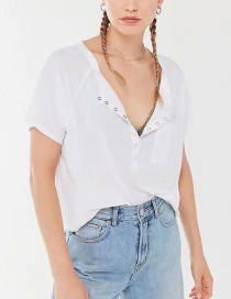 Fashion White Cropped Henley With Buttoned Pockets