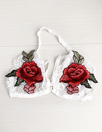 Fashion White + Red Lace Embroidered Flower Lingerie