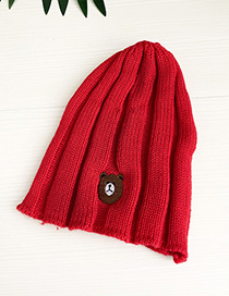 Fashion Red Knitted Hats Bear