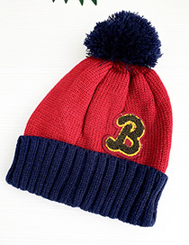 Fashion Red + Navy Children's Hats Knit Stitching Letters