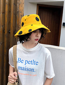 Fashion Yellow Polka Dot Wear Double-sided Collapsible Hat