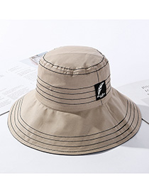 Fashion Khaki Traces Of Feathers Foldable Large Brimmed Cotton Hat