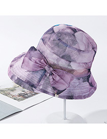 Fashion Light Purple Printed Bow Pearl Fisherman Hat
