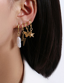 Fashion Golden Shaped Imitation Pearl Lightning Butterfly Pentagram Ear Clip