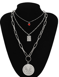 Fashion White K Portrait Three-dimensional Geometric Love Contrast Color Multi-layer Embossed Necklace