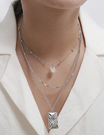 Fashion White K Sequin Chain Carved Flower Square Multilayer Necklace