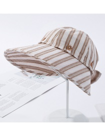 Fashion Khaki Contrast Striped Striped Dual-use Fisherman Hat