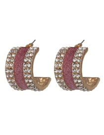 Fashion Pink C Semicircular Shape Alloy Rhinestone Earrings