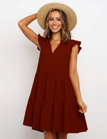Fashion Red Wine Boats Sleeve V-neck Pleated Dress Stitching