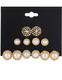Fashion Golden Pearl Flower Hollow Alloy Pearl Earring Set With Diamonds