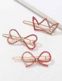Fashion Pink Love Gradient Hairpin With Diamond Crown And Bow