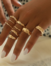 Fashion Golden Metal Twisted Irregular Geometric Ring Set