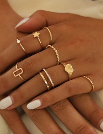Fashion Golden Love Pendant Geometric Ring Set