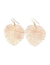 Fashion Golden Hollow Leaf Textured Stud Earrings