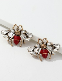 Fashion Red Insect Geometric Earrings With Diamonds