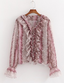 Fashion Rose Pink Snake-print Ruffled V-neck Bell Sleeve Top
