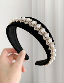 Fashion Black Cloth Alloy Rhinestone Pearl Rhombus Headband