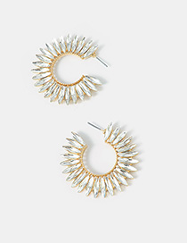Fashion Bright Gold C-shaped Diamond Full Crystal Earrings With Diamonds