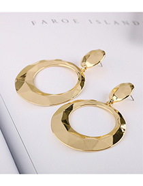 Fashion Golden Alloy Diamond Geometric Stud Earrings