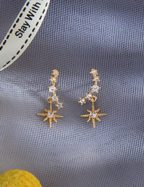 Fashion Golden Geometric Zircon Earrings