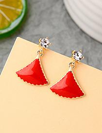 Fashion Red Geometric Enamel Glazed Skirt Scallop Earrings