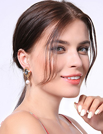 Fashion Golden Asymmetric Crystal Flower Pearl Earrings