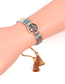 Fashion Khaki Couple Boy Girl With Diamond Tassel Hand Rope