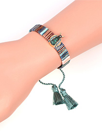 Fashion Gray Beatles Diamond Strap Hand Tassel Bracelet