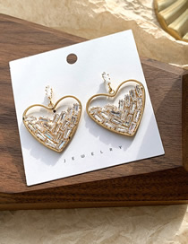 Fashion Golden Love Studded Crystal Stud Earrings