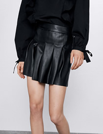 Fashion Black Faux Leather Pleated Short Skirt