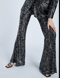 Fashion Black Sequins Sequined Flared Pants